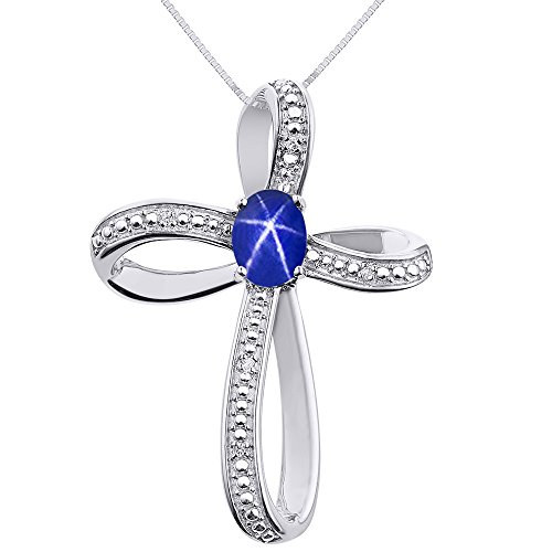 Diamond & Blue Star Sapphire Cross Pendant Necklace Set In Sterling Silver .925 with 18
