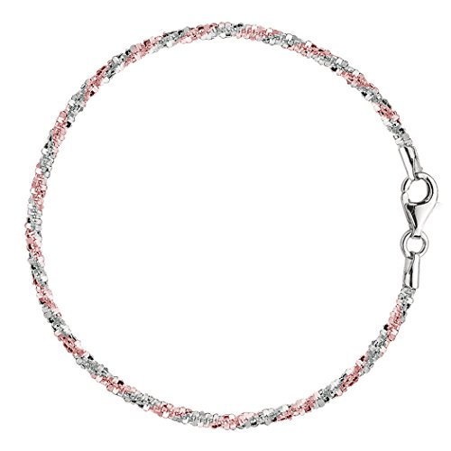 Sterling Silver White Anklet (Pink And White Sparkle Style Chain Anklet In Sterling Silver,)