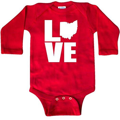 inktastic - Ohio Love Long Sleeve Creeper 6 Months Red 103ed