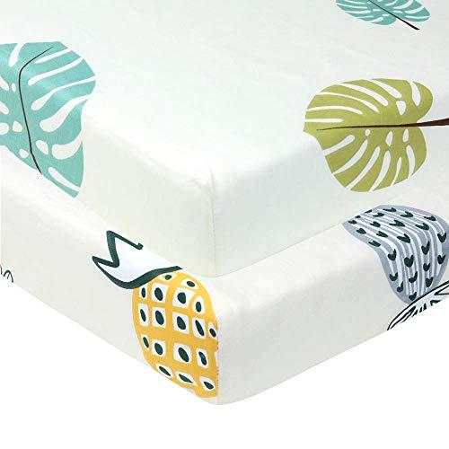 Organic Cotton Crib Mattress Sheet Set (2 Pack) | 100% Cotton Ultra Soft | Fits Standard Crib Mattress for Babies & Toddler Mattress (28x52x9 inch)