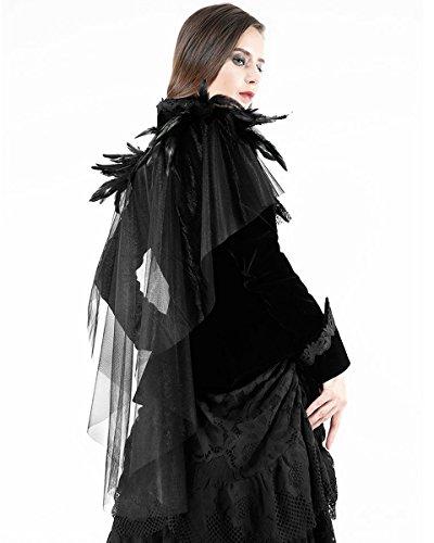 Vtg Piuma Raven Velluto Love Nero Steampunk Dark Donna Mantella In Giacca Gothic gxw4FOfAvq