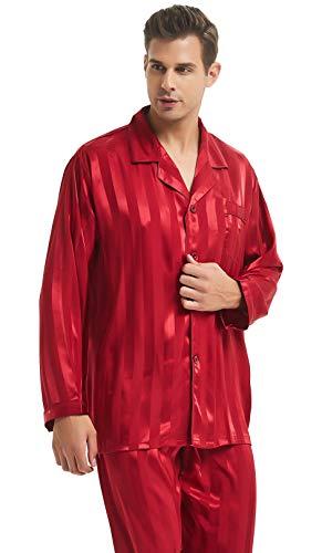 Mens Silk Satin Pajamas Set Sleepwear Loungewear Red 2XL