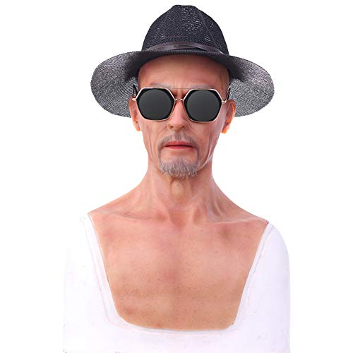 BTTBS-MJ Old Man Transvestite Soft Silicone Realistic Cowboy Man Head Mask Handmade Face for Crossdresser Transgender Cosplay Drag Halloween Costumes Masquerade]()