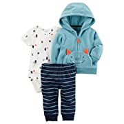 Carter's Baby Boys 3 Piece Cardigan Bodysuit and Pants Set, Monster, 3 Months