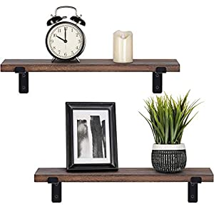 Mkouo Rustic Wood Floating Shelves Industrial Wall Mounted Shelving Set of 2 Wall Storage Shelves with L Brackets for Bedroom, Living Room, Bathroom, Kitchen, Office