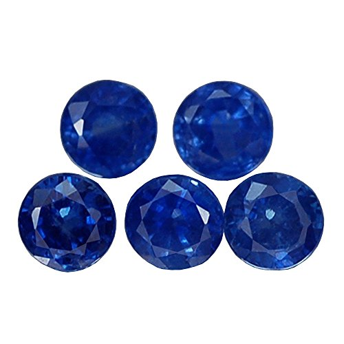 1.32CT LOVELY 5PCS VVS ROUND HEATED ONLY BLUE THAILAND SAPPHIRE - Heated Round Blue Sapphire
