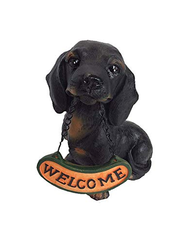 Welcome Statue, Miniature Dachshund Durable Resin Yard, Patio, Garden, Home Resin Statue, Indoor and Outdoor Decor
