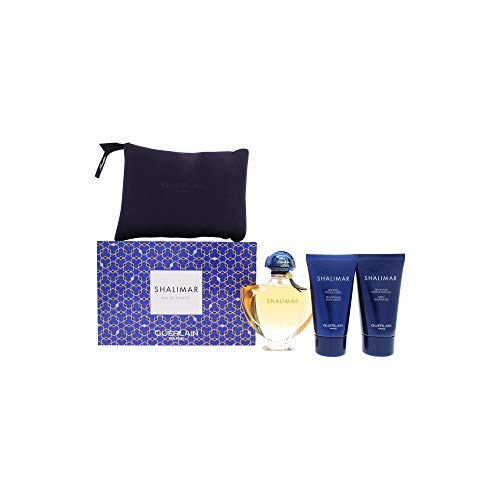 (Guerlain Shalimar By Guerlain for Women - 4 Pc Gift Set 3oz Edt Spray, 2.5oz Body Lotion, 2.5oz Shower Gel & Bag, 4count)
