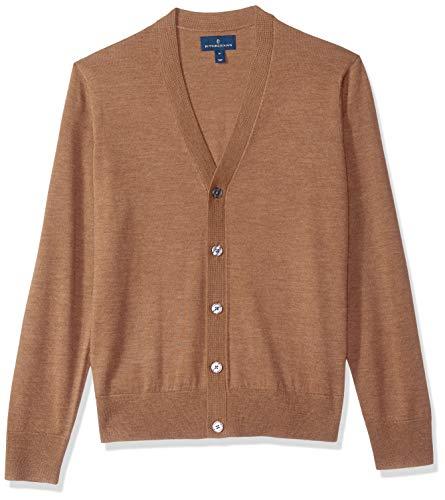 BUTTONED DOWN Men's Italian Merino Wool Lightweight Cashwool Cardigan Sweater, Brown Heather, XX-Large