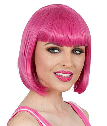 (Short Pink Bob Wig with Bangs - Hot Pink Cosplay Wigs for Women Colorful Fun)