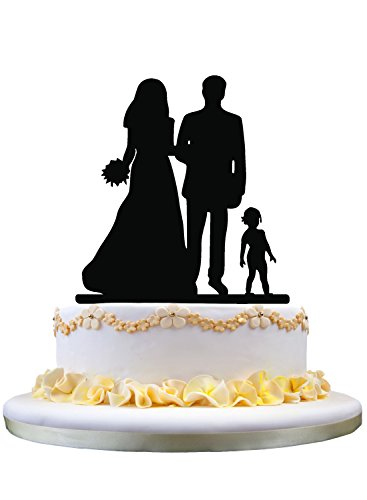Family cake topper- bride and groom cake topper,with a kid behind cake decoration for wedding gifts