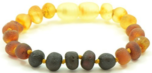 Unpolished Baltic Amber Bracelet/Anklet for Children- Baltic Amber Land - Knotted for Safety - Hand-made From Raw/Certified Amber Beads (12 cm (4.7 inches), Rainbow)