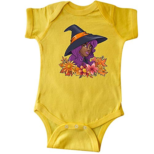 inktastic - Witch with Autumn Flowers and Leaves Infant Creeper 18 Months Yellow]()