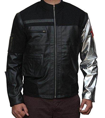 Captain America Civil War Winter Soldier Bucky Barnes Costume Silver Arm Leather Jacket Christmas M - Ebay Captain America Costume