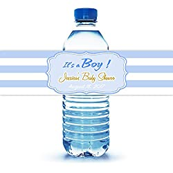 "It's a Boy Baby Shower Water Bottle Labels, 100 Personalized 8""X2"" Easy to Peal & Stick Labels"