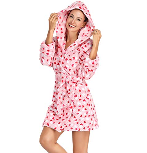 Women Robe with Hoodie Plush Kimono Bath Robe Short Pink with Red Hearts Small
