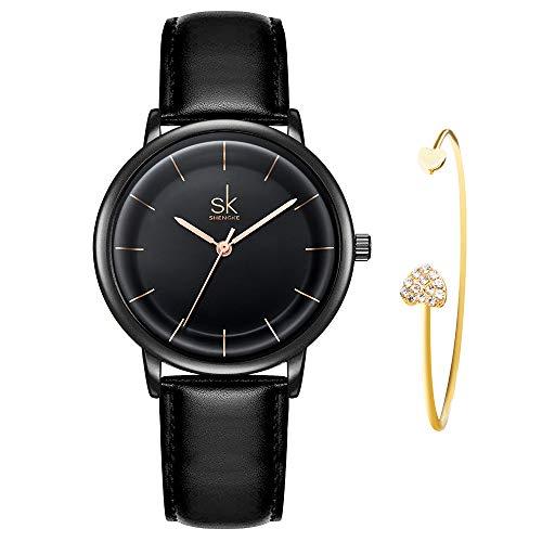 Fashion Quartz Watch - SHENGKE Women's Watch Gift Set Quartz Leather Strap Fashion Ladies Watch Ultra Thin Watches for Women with Bracelet Gift reloj de Mujer