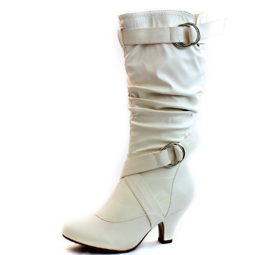 Cheap White Knee High Boots (Women's Mid Calf Buckle Strap Pu Leather Comfortable Kitten Heel Knee High Boots Fashion Shoes,Auto-2v2.0 White Pu 9)