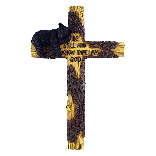 "Magnificent 16"" Black Bear Wall Cross - Beautifully Hand-Painted and Crafted Polyresin for God-Fearing Hunters, Wildlife Lovers and Outdoorsman - Great for Arts and Crafts"