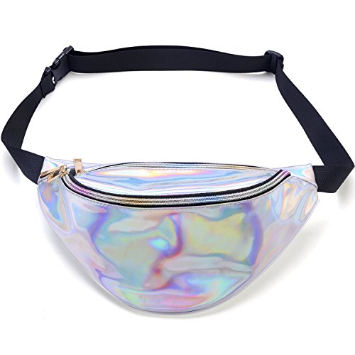 Miracu Holographic Fanny Pack, 80s Fanny Packs for Women and Men, Shiny Waist Pack Bum Bag Fashion for Rave, Festival, Party, Travel