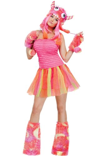 [Fun World Wild Child Monster Adult Costume, Pink/Orange, Small] (Sexy Monster Halloween Costumes)