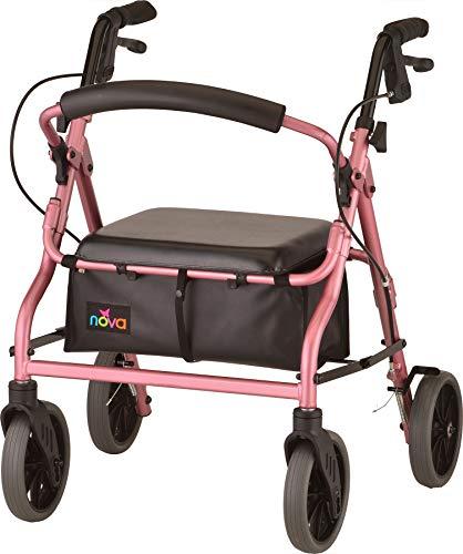 "NOVA 18"" Zoom Rollator Walker, Pink"