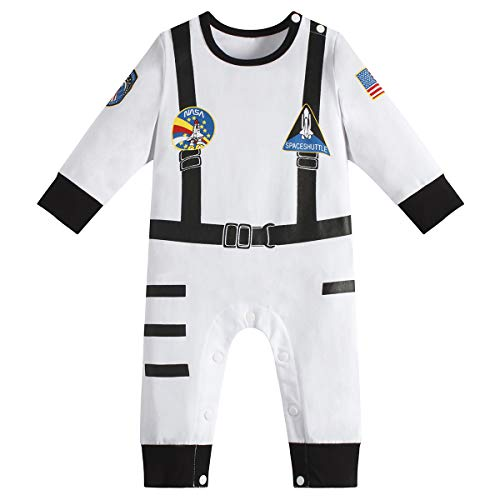 Space Suit Halloween Costume (Paddy Field Baby Boys Girls Astronaut Suit Space Explorer Jumpsuit Cosplay Costume Halloween (3-6)