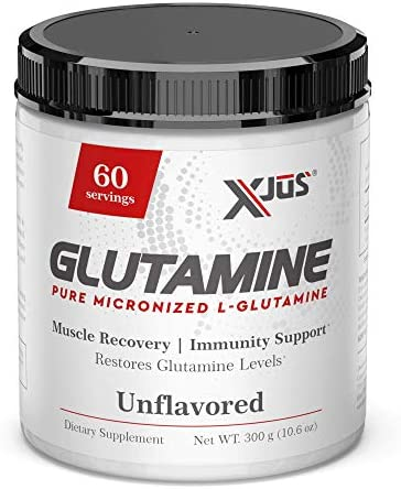Xjus Micronized L-Glutamine, Maintain Muscle Mass, Supplements Natural Glutamine, GMO Free, Kosher, No Filler Ingredients, 60 Servings