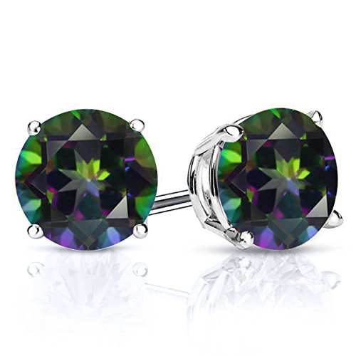 Sterling Silver Mystic Topaz Women's Green Stud Earrings (3.00 cttw, 7MM Round)