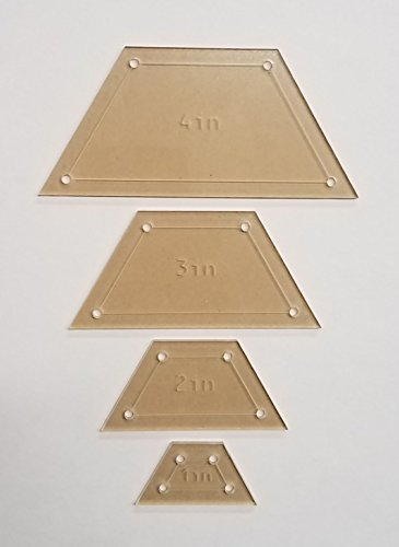 Half Hexagon Quilting Template Set, 4'', 3'', 2'', 1'' with 1/4'' Seam Allowance by LaserThing