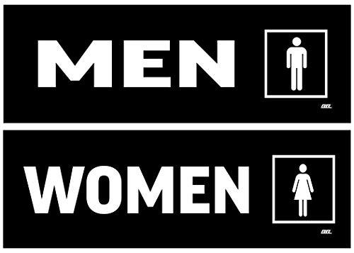 Decal Warning Set - 2 Pack Men and Women Restroom Bathroom 1 Each Door Sticker Set Sign Warning 9x3 Inch Vinyl Decal Indoor Outdoor Window Door Business Retail Store