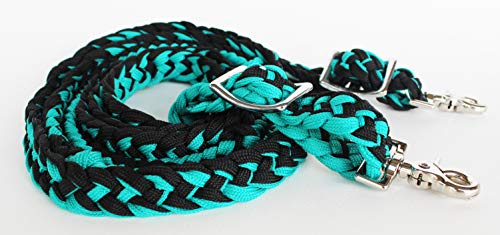 Challenger Tack Horse Western Knotted Nylon Braided Barrel Roping Reins Teal Black 60701TL