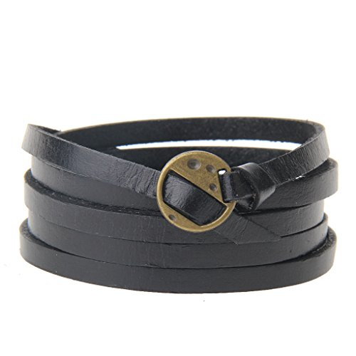 Jenia Adjustable Genuine Leather Bracelet Wrap Cuff Multilayer Wristband for Women and (Black Leather Mens Bracelet)