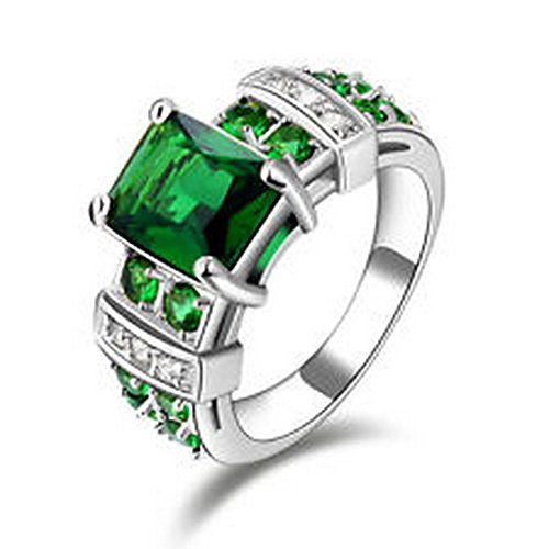 YD Jewels - Hot Jewery Size 6 ring Wedding Men&Women Green Emerald Gold Filled case