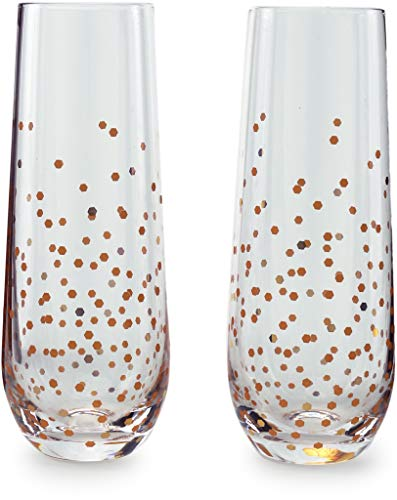 Circleware 77095 Confetti Gold Champagne Flutes Wine Glasses, Set of 2 Beverage Drinking Glassware for Water, Liquor and Best Selling Home Bar Decor Dining Gifts 10.5 ()