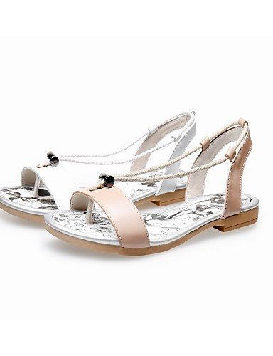 Dress Heel Party White Toe almond Leather Gladiator Shoes ShangYi Women's Almond Outdoor Sandals Flat amp; Open Evening IOwBq6H