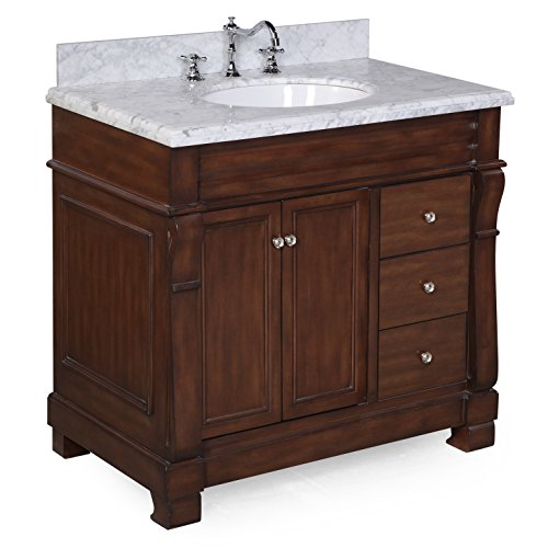 Kitchen Bath Collection KBC36TRA22BRCARR Westminster Bathroom Vanity with Marble Countertop, Cabinet with Soft Close Function and Undermount Ceramic Sink, Carrara/Brown, 36