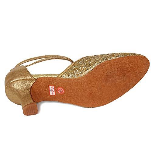 7cm Mujer de Cerrados Latin salón AMAZORS de Zapatos 5 Dedos Oro Talón Modelo Baile MF1802 OqdnaAw