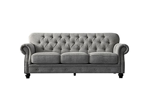 Acanva Chesterfield Chenille Living Room Sofa, Couch, Light Gray (Finish Bronze Chesterfield)