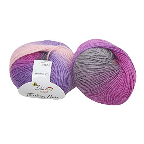 Thread Tapestry (Voberry 1pc 50g Chunky Hand-woven Rainbow Colorful Knitting Scores Wool Blend Yarn (B))