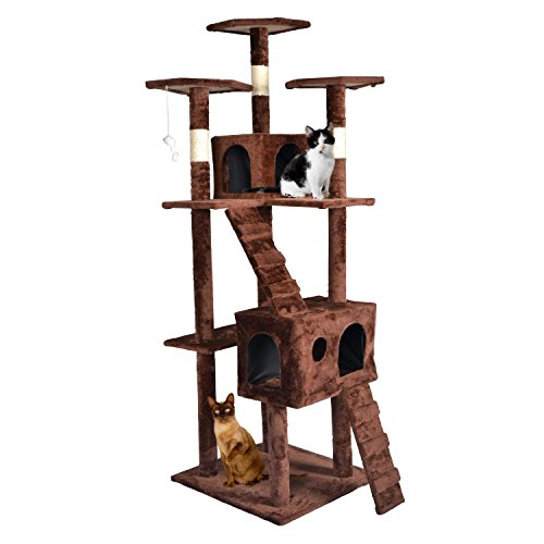 BestPet CT9073 Cat Tree Condo Furniture, Surface Material Faux Fur, 73-Inch, Brown