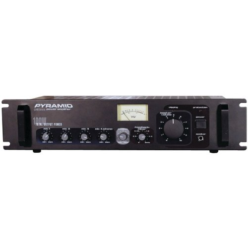 1 - Amp with Microphone Input (300 Watt), Phono/aux input selector, Phono & aux RCA input jacks, PA305 by Pyramid
