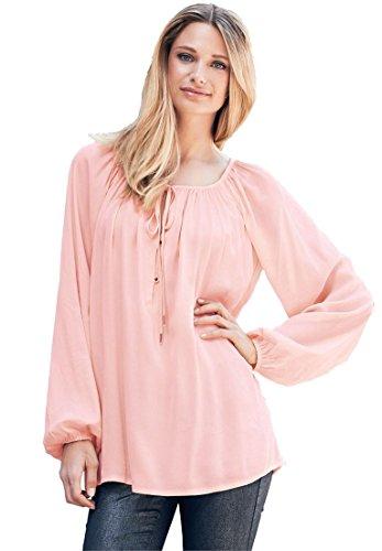 Peasant Blouse Pink (Ellos Women's Plus Size Tie Neck Peasant Tunic Pale Blush,1X)