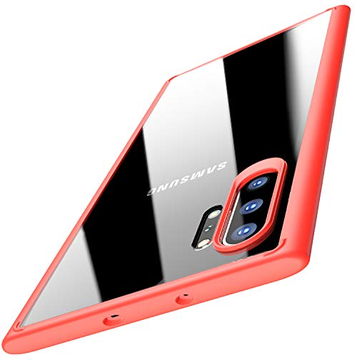 TOZO for Samsung Galaxy Note 10 Plus Case, PC + TPU Clear Hard Back Panel Hybrid Ultra-Thin [ Slim Fit ] Protect Cover Shock Absorption Back-Transparent Bumper for Samsung Galaxy Note 10+ 5G [Red] (Samsung Note Edge Case)