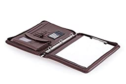 Compact Organizer Folio with 3-Ring Binder and Letter A4 Paper