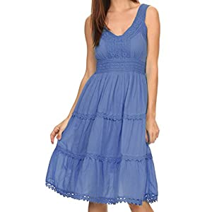 Sakkas KD2155 - Presta Roman Sleeveless Lined Tank Top Dress With Emrboidery Lace Design - Navy - M