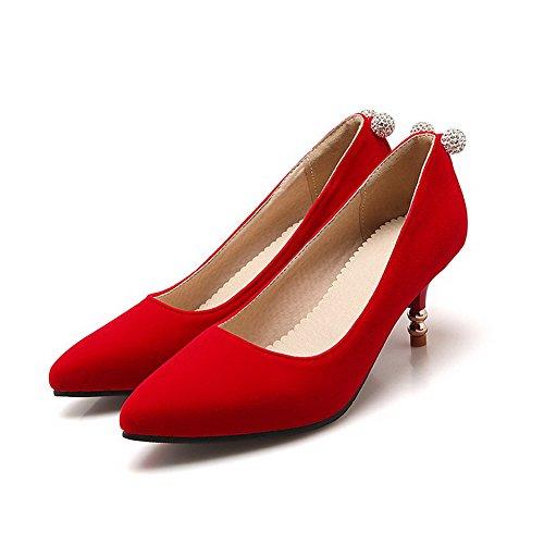 VogueZone009 Damen Spitz Zehe Ziehen auf Nubukleder Eingelegt Mittler Absatz Pumps Schuhe, Blau, 36