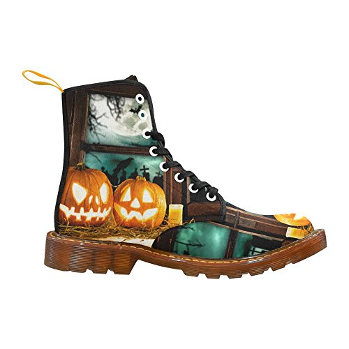 D-Story Shoes Happy Halloween Pumpkin Lace Up Martin Boots For Women Halloween5 ambxLT3ML