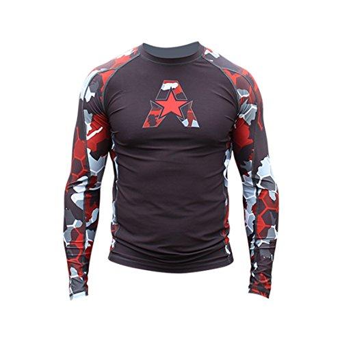 (Anthem Athletics New! 10+ Styles HELO-X Long Sleeve Rash Guard Compression Shirt - BJJ, MMA, Muay Thai - Red Camo Hex - XX-Large)