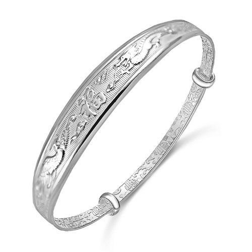 Merdia S999 Sterling Sliver Adjustable Chinese Style Lucky Bracelet (phoenix&dragon) (Sterling Silver Dragon Bracelet)